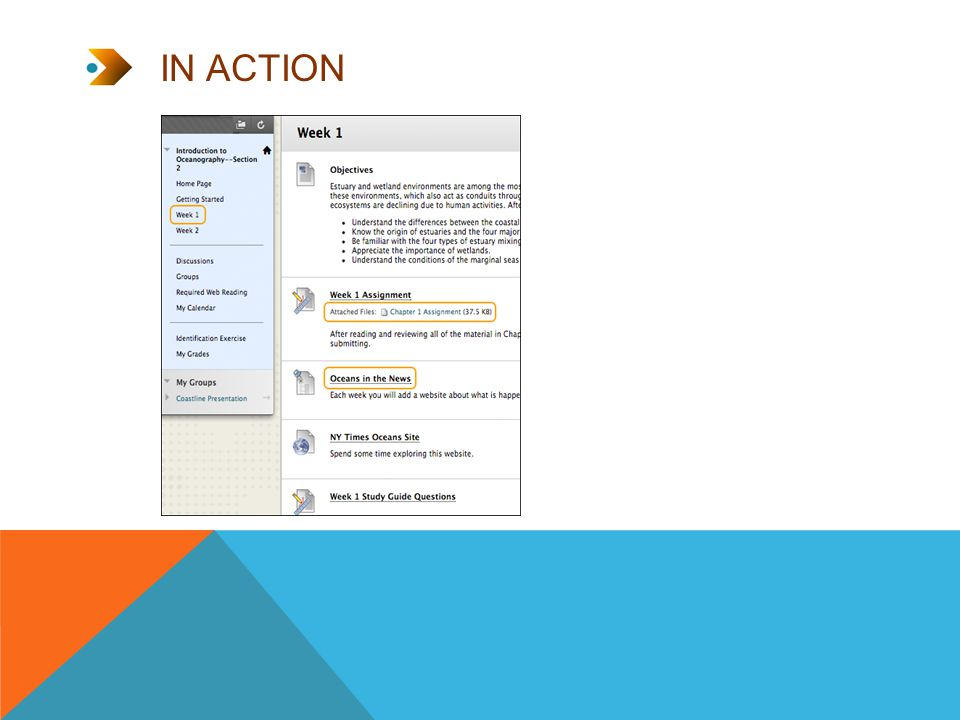 THE BASIC PROCESS 1.Add a content area.2.Access the content area from the course menu.