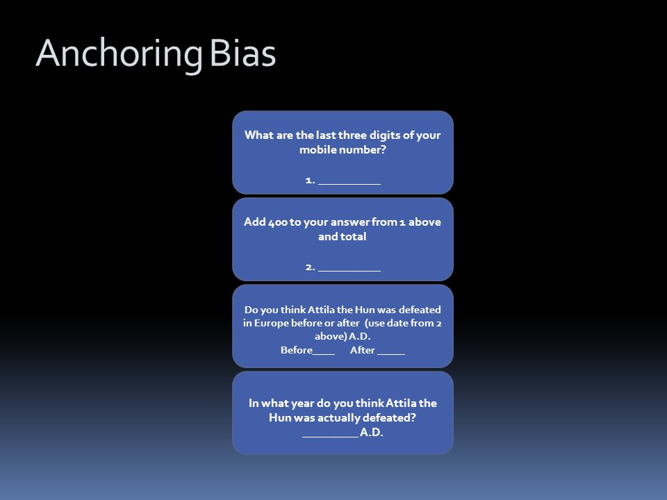 Anchoring Bias What are the last three digits of your mobile number.