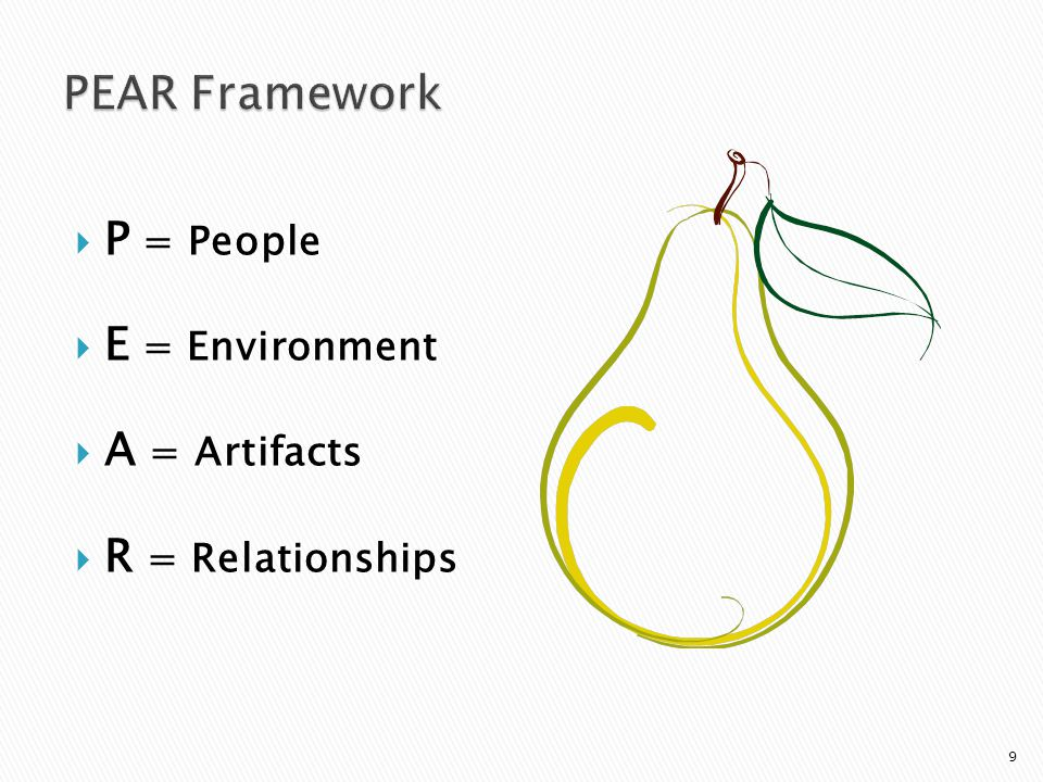  P = People  E = Environment  A = Artifacts  R = Relationships 9
