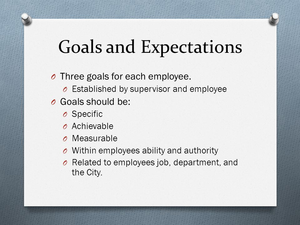 Goals and Expectations O Three goals for each employee.