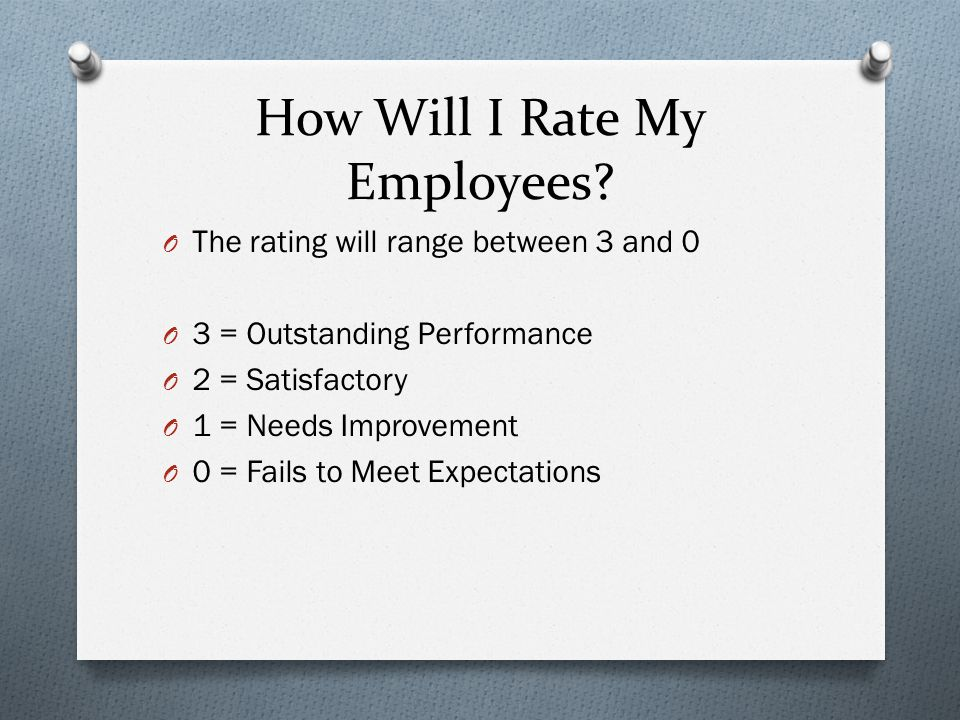 How Will I Rate My Employees.