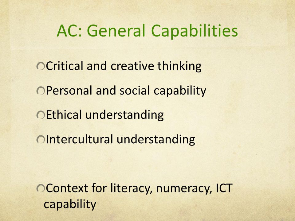 AC: General Capabilities Critical and creative thinking Personal and social capability Ethical understanding Intercultural understanding Context for literacy, numeracy, ICT capability