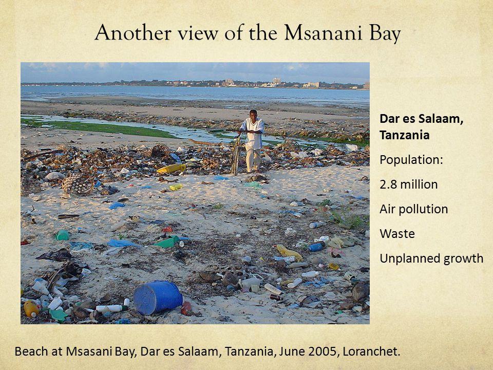 Another view of the Msanani Bay Dar es Salaam, Tanzania Population: 2.8 million Air pollution Waste Unplanned growth Beach at Msasani Bay, Dar es Salaam, Tanzania, June 2005, Loranchet.