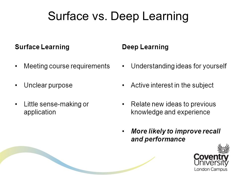 Surface Learning Meeting course requirements Unclear purpose Little sense-making or application Surface vs. Deep Learning Deep Learning Understanding