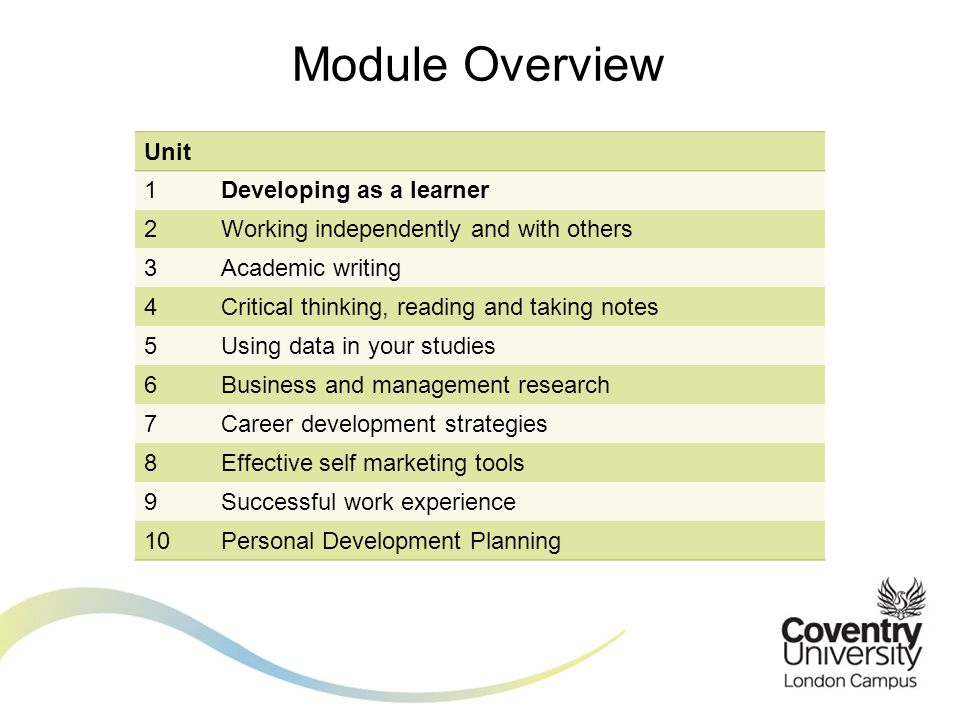 Module Overview Unit 1Developing as a learner 2Working independently and with others 3Academic writing 4Critical thinking, reading and taking notes 5U
