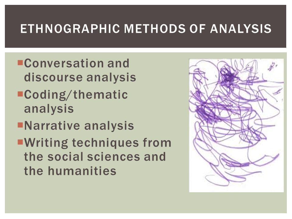  Conversation and discourse analysis  Coding/thematic analysis  Narrative analysis  Writing techniques from the social sciences and the humanities ETHNOGRAPHIC METHODS OF ANALYSIS