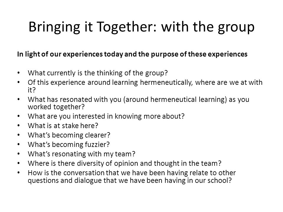 Bringing it Together: with the group In light of our experiences today and the purpose of these experiences What currently is the thinking of the group.