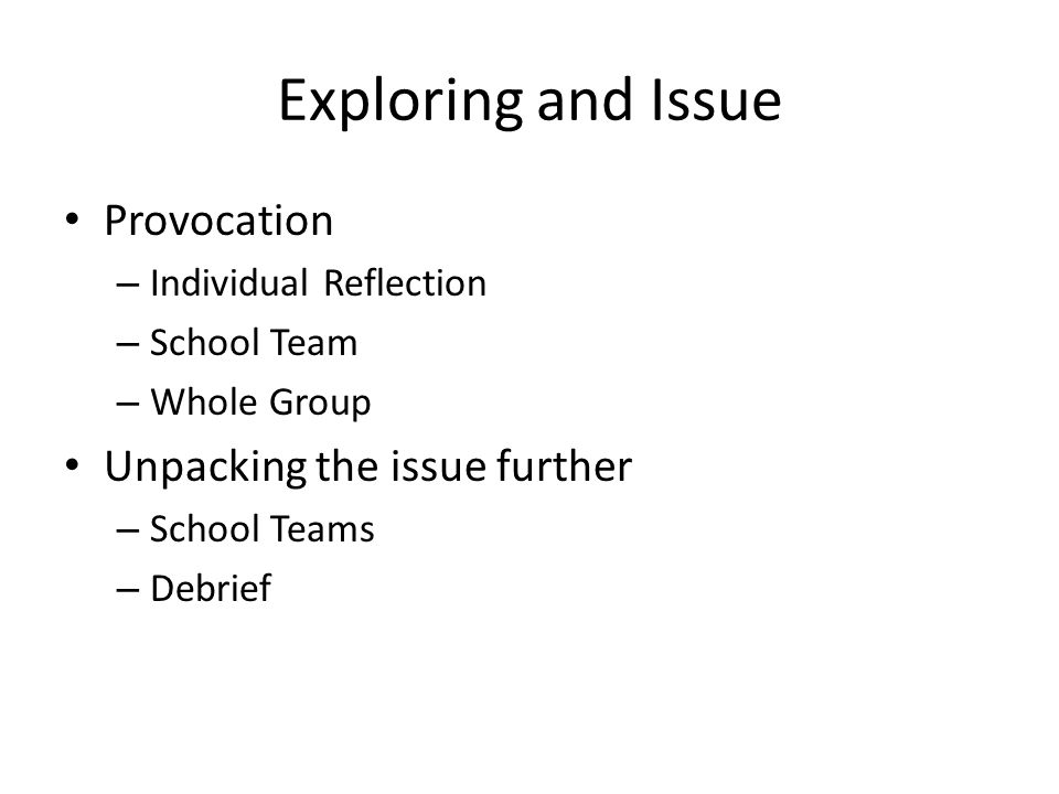 Exploring and Issue Provocation – Individual Reflection – School Team – Whole Group Unpacking the issue further – School Teams – Debrief