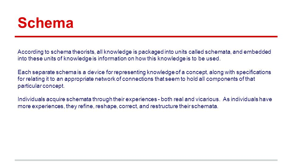 Schema According to schema theorists, all knowledge is packaged into units called schemata, and embedded into these units of knowledge is information on how this knowledge is to be used.