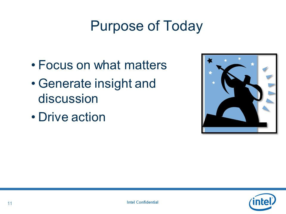 Intel Confidential 11 Purpose of Today Focus on what matters Generate insight and discussion Drive action