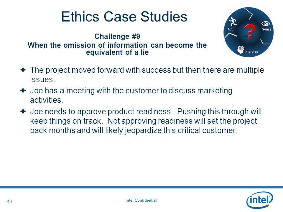 Intel Confidential 43 Ethics Case Studies  The project moved forward with success but then there are multiple issues.