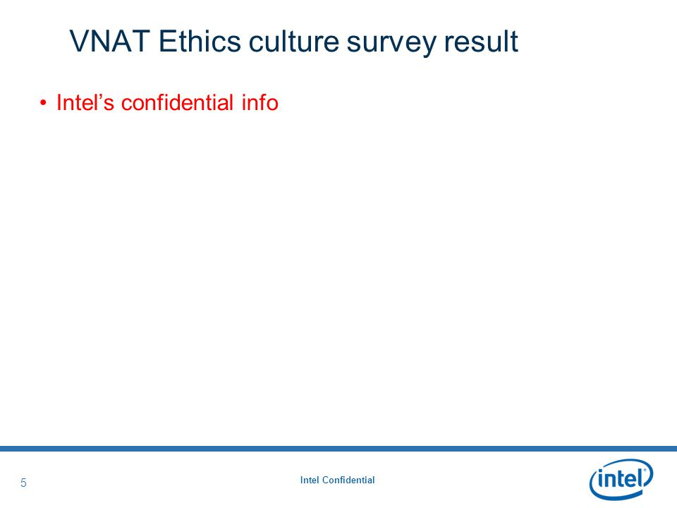 Intel Confidential 5 5 VNAT Ethics culture survey result Intel's confidential info