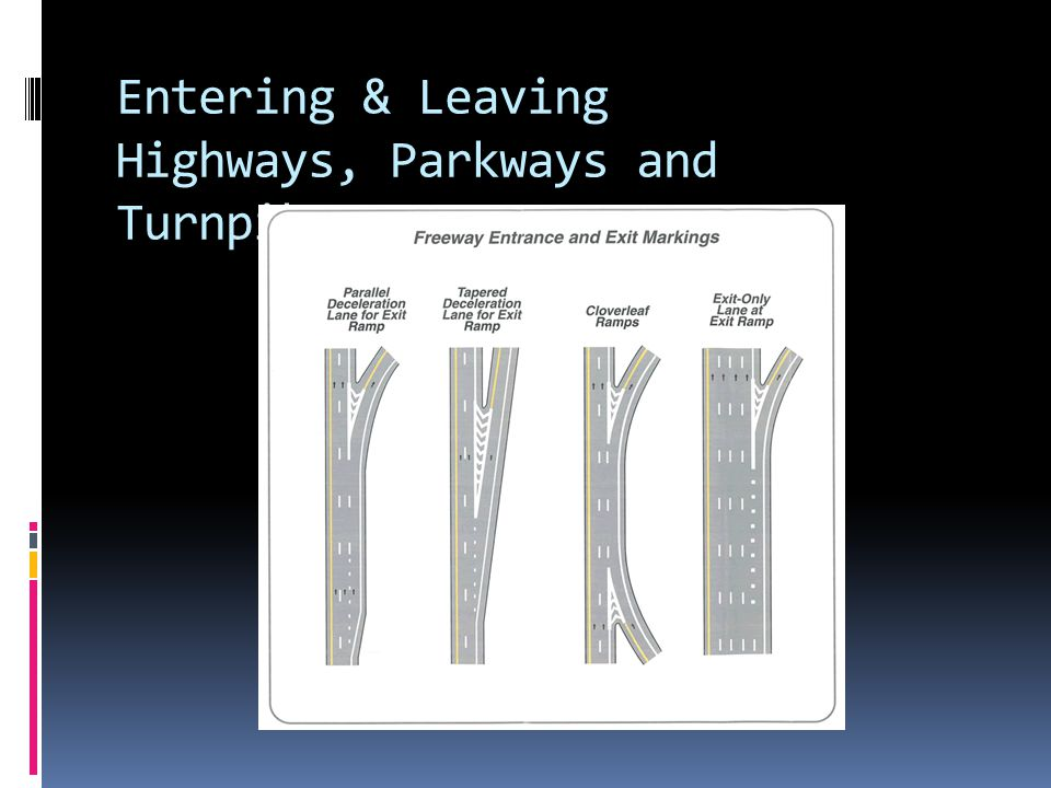 Entering & Leaving Highways, Parkways and Turnpikes