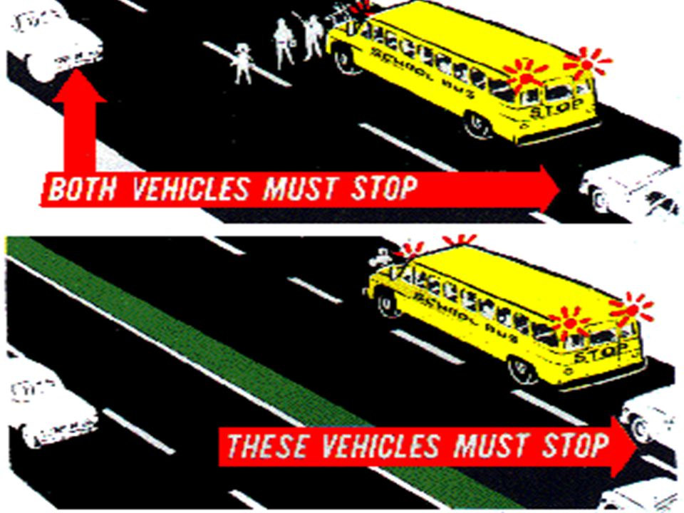 Stop for School Buses  How far.  25 ft.  When do you need to stop.