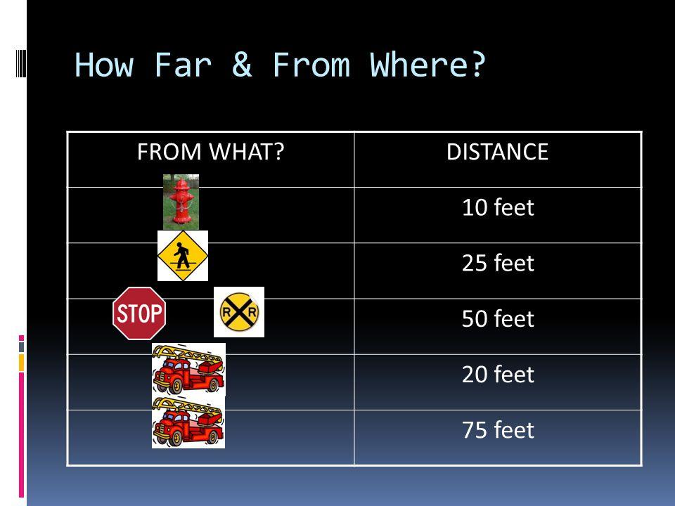 How Far & From Where FROM WHAT DISTANCE 10 feet 25 feet 50 feet 20 feet 75 feet