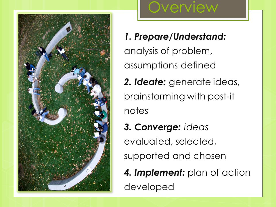 Overview 1. Prepare/Understand: analysis of problem, assumptions defined 2.