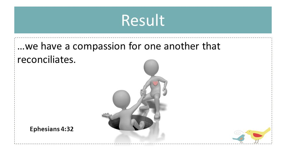 Result …we have a compassion for one another that reconciliates. Ephesians 4:32