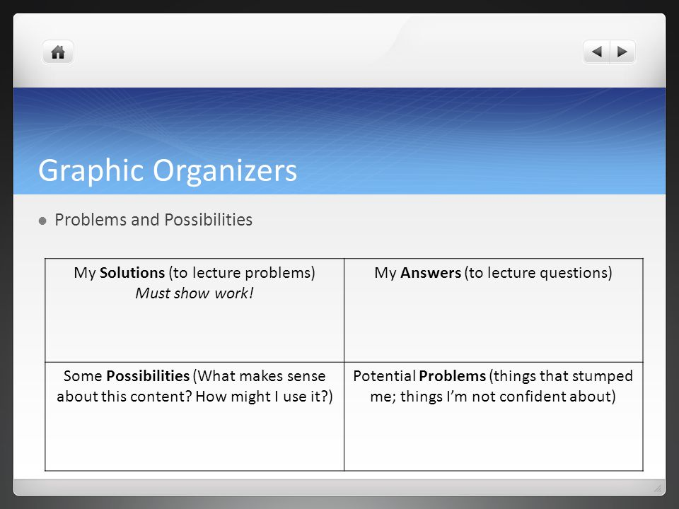 Graphic Organizers Problems and Possibilities My Solutions (to lecture problems) Must show work.