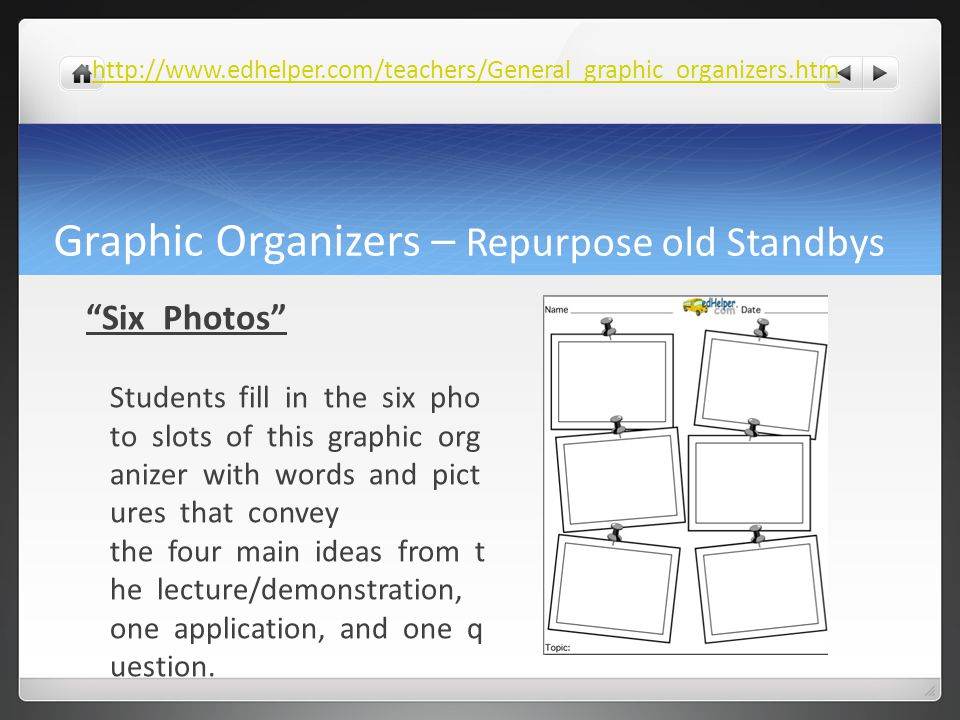 "Graphic Organizers – Repurpose old Standbys ""Six Photos"" Students fill in the six pho to slots of this graphic org anizer with words and pict ures tha"