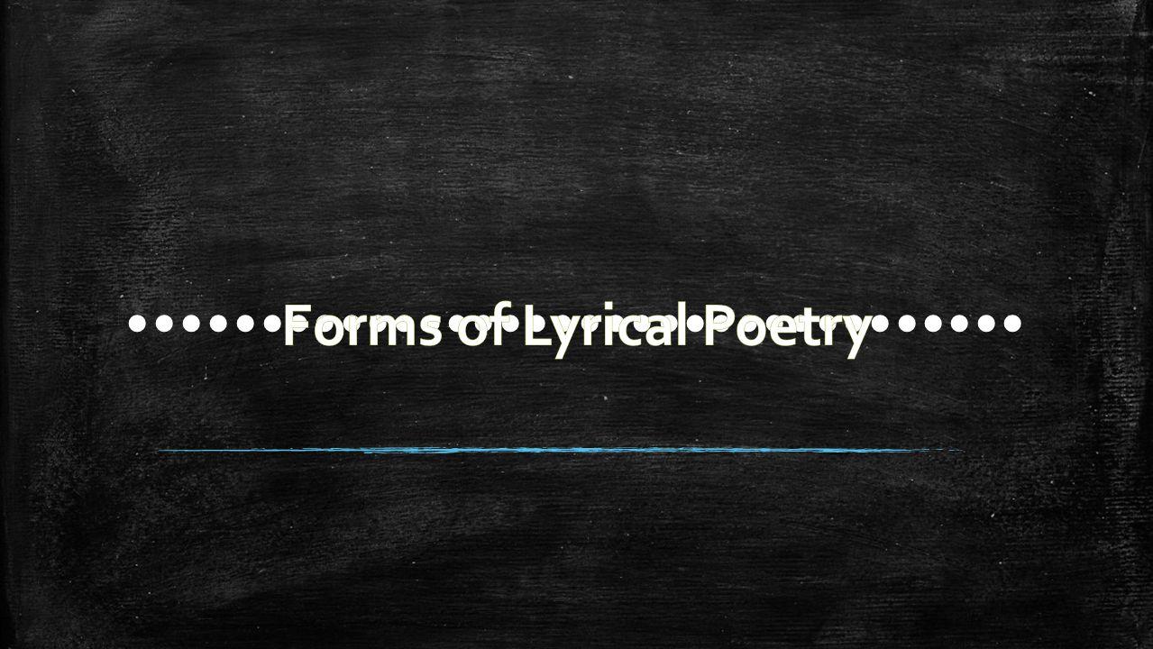 Lyrics Sonnets Odes Elegy