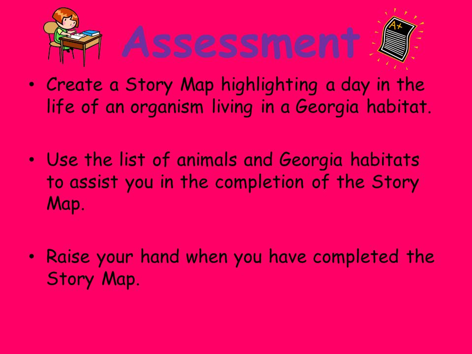 Assessment Create a Story Map highlighting a day in the life of an organism living in a Georgia habitat.