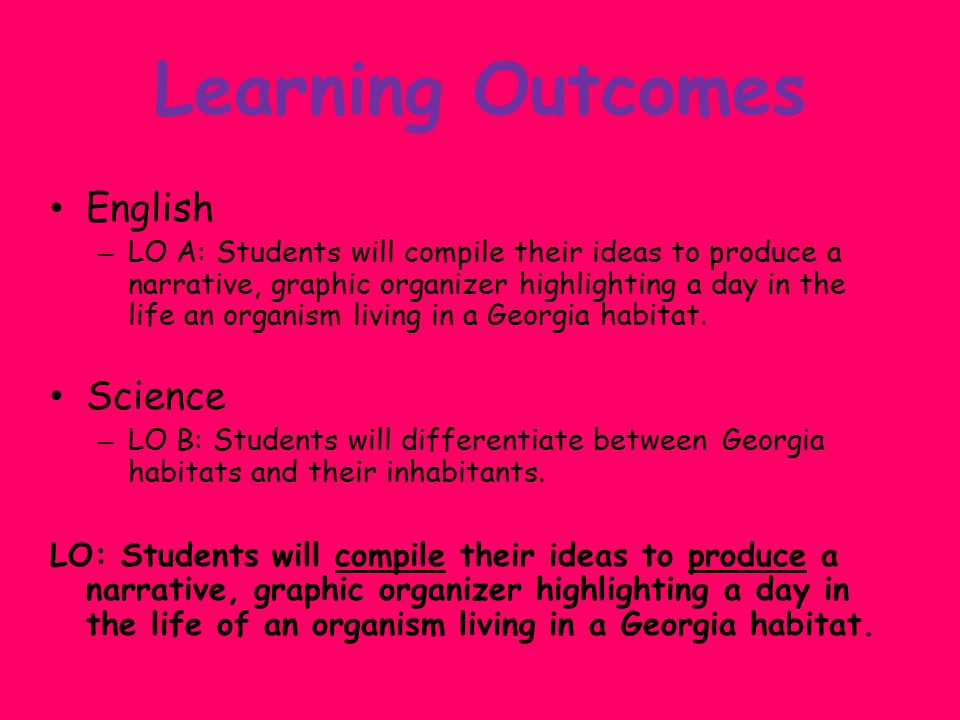 Learning Outcomes English – LO A: Students will compile their ideas to produce a narrative, graphic organizer highlighting a day in the life an organism living in a Georgia habitat.