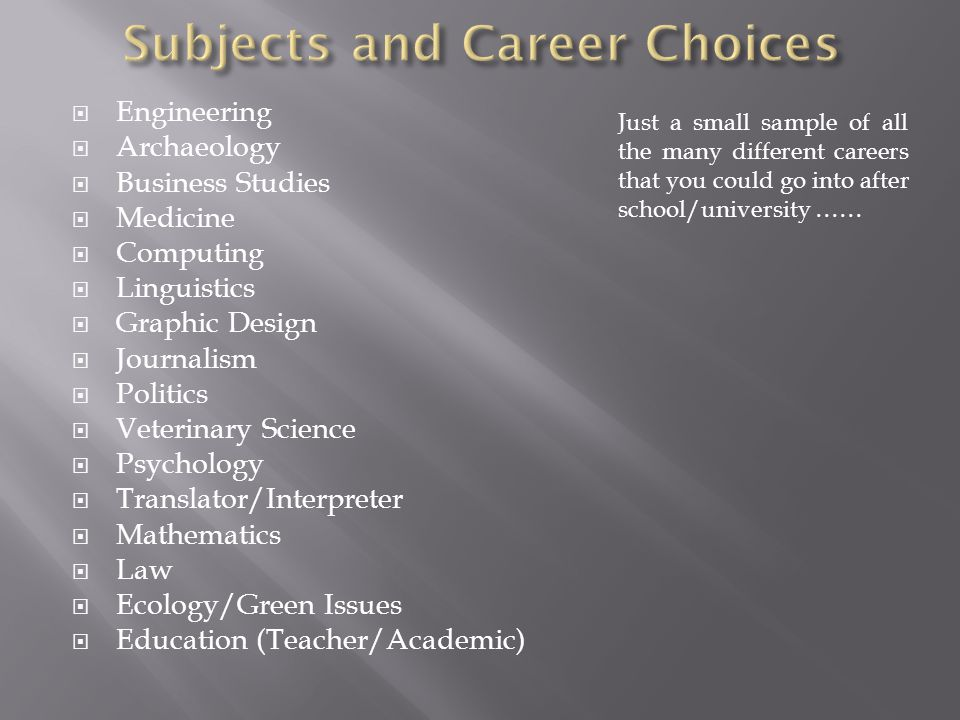  Engineering  Archaeology  Business Studies  Medicine  Computing  Linguistics  Graphic Design  Journalism  Politics  Veterinary Science  Psychology  Translator/Interpreter  Mathematics  Law  Ecology/Green Issues  Education (Teacher/Academic) Just a small sample of all the many different careers that you could go into after school/university ……