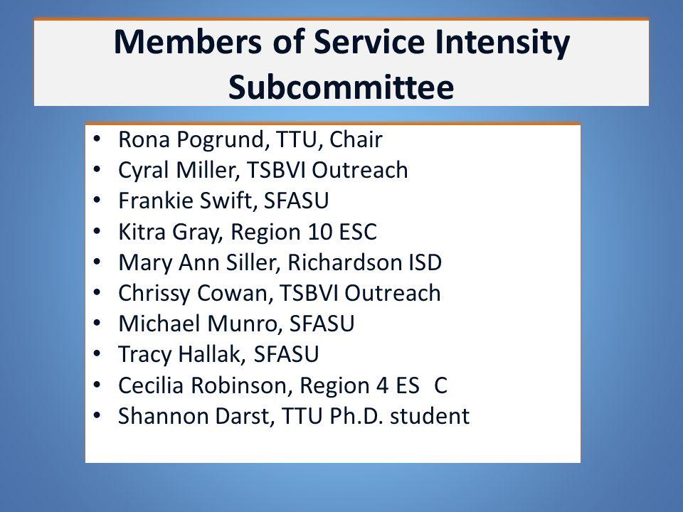 Members of Service Intensity Subcommittee Rona Pogrund, TTU, Chair Cyral Miller, TSBVI Outreach Frankie Swift, SFASU Kitra Gray, Region 10 ESC Mary An
