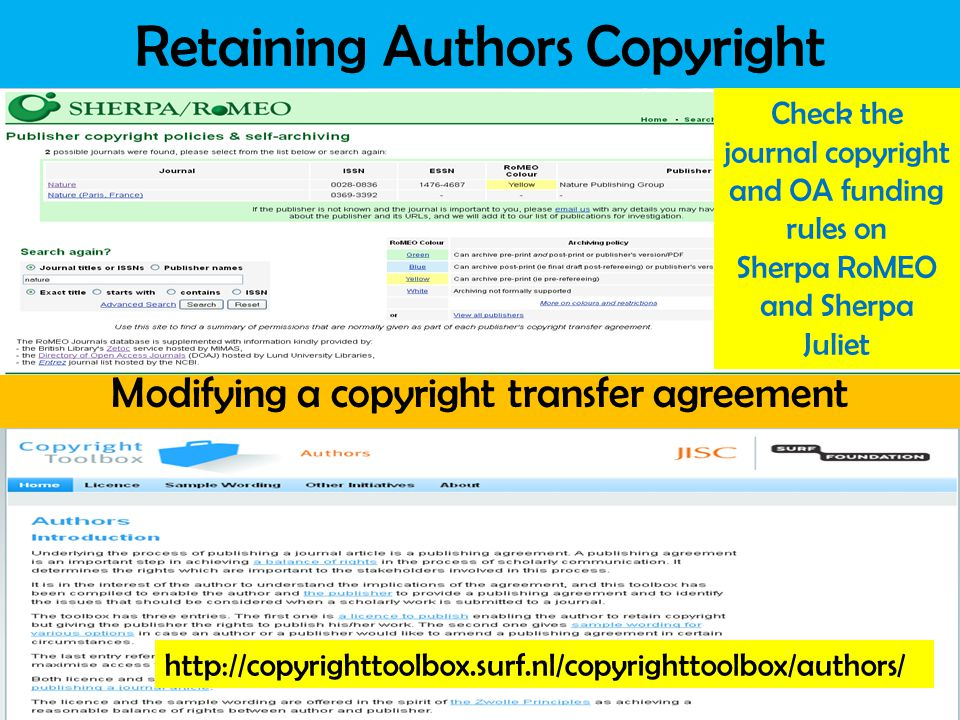 Information Services and Systems Retaining Authors Copyright Modifying a copyright transfer agreement Check the journal copyright and OA funding rules on Sherpa RoMEO and Sherpa Juliet http://copyrighttoolbox.surf.nl/copyrighttoolbox/authors/