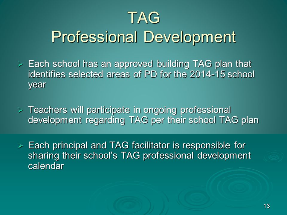 13 TAG Professional Development  Each school has an approved building TAG plan that identifies selected areas of PD for the 2014-15 school year  Teachers will participate in ongoing professional development regarding TAG per their school TAG plan  Each principal and TAG facilitator is responsible for sharing their school's TAG professional development calendar