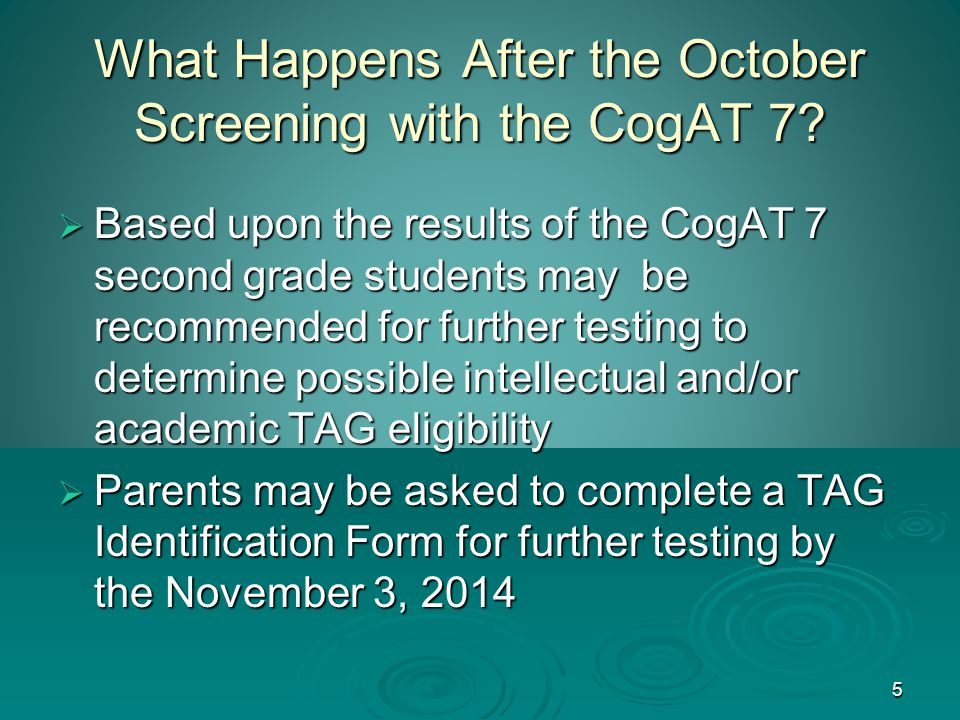 5 What Happens After the October Screening with the CogAT 7.