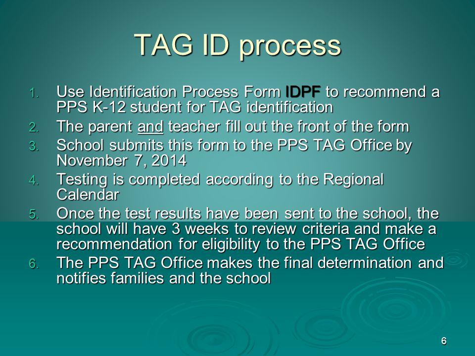 6 TAG ID process 1.