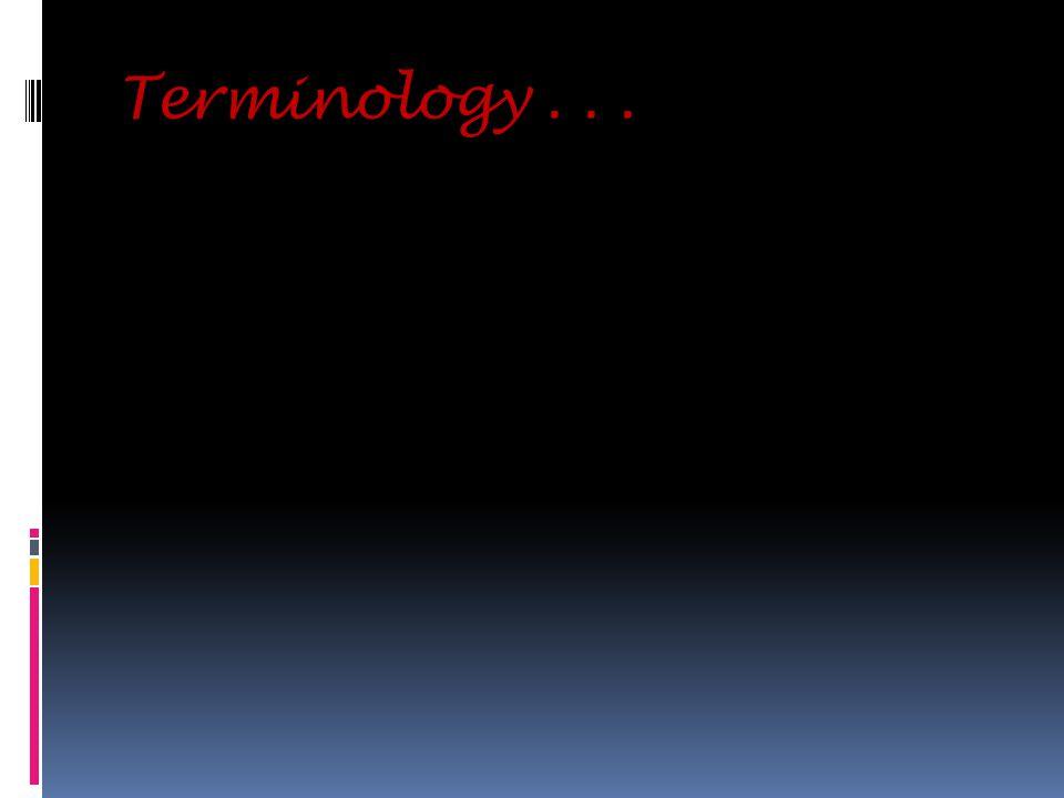 Terminology...