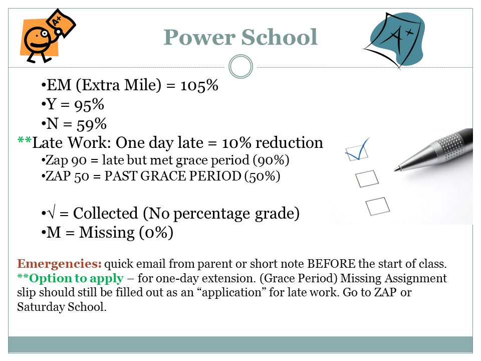 Power School EM (Extra Mile) = 105% Y = 95% N = 59% **Late Work: One day late = 10% reduction Zap 90 = late but met grace period (90%) ZAP 50 = PAST G