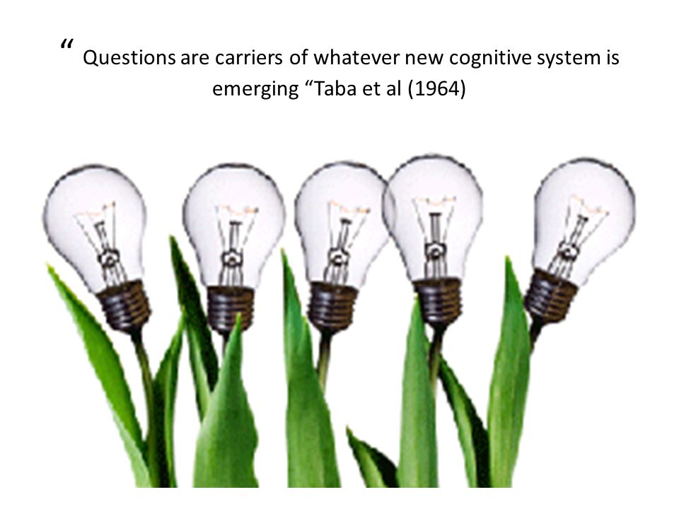 Questions are carriers of whatever new cognitive system is emerging Taba et al (1964)