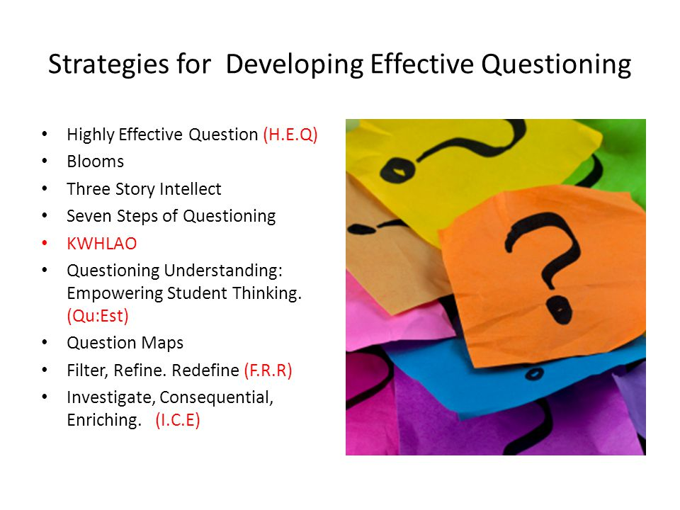 Strategies for Developing Effective Questioning Highly Effective Question (H.E.Q) Blooms Three Story Intellect Seven Steps of Questioning KWHLAO Questioning Understanding: Empowering Student Thinking.