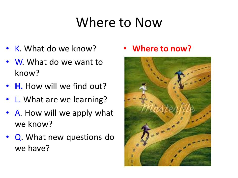 Where to Now K.What do we know. W. What do we want to know.