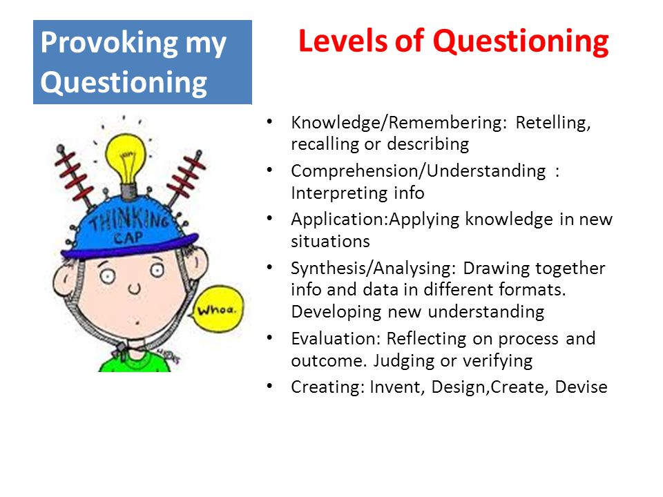 Provoking my Questioning Levels of Questioning Knowledge/Remembering: Retelling, recalling or describing Comprehension/Understanding : Interpreting info Application:Applying knowledge in new situations Synthesis/Analysing: Drawing together info and data in different formats.