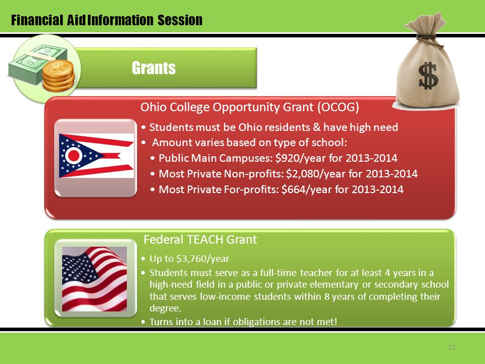 Grants Financial Aid Information Session Ohio College Opportunity Grant (OCOG) Students must be Ohio residents & have high need Amount varies based on type of school: Public Main Campuses: $920/year for 2013-2014 Most Private Non-profits: $2,080/year for 2013-2014 Most Private For-profits: $664/year for 2013-2014 Federal TEACH Grant Up to $3,760/year Students must serve as a full-time teacher for at least 4 years in a high-need field in a public or private elementary or secondary school that serves low-income students within 8 years of completing their degree.
