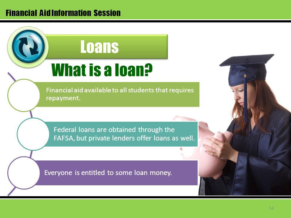 Loans Financial Aid Information Session Financial aid available to all students that requires repayment. Federal loans are obtained through the FAFSA,