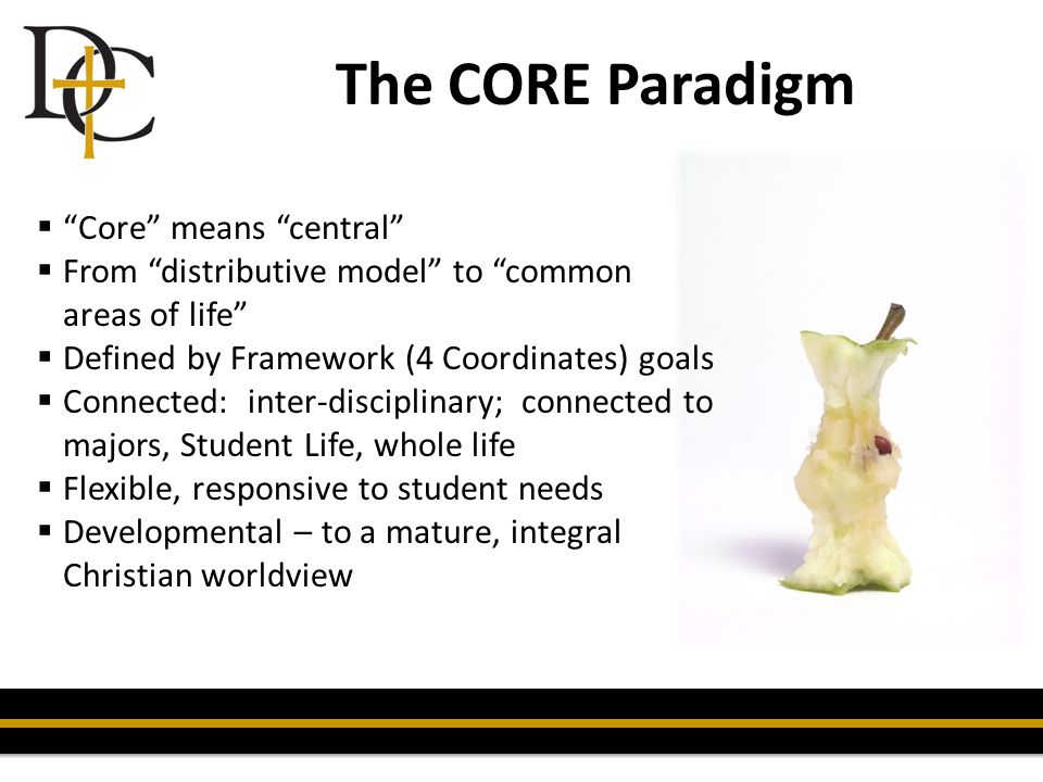 "The CORE Paradigm  ""Core"" means ""central""  From ""distributive model"" to ""common areas of life""  Defined by Framework (4 Coordinates) goals  Connec"