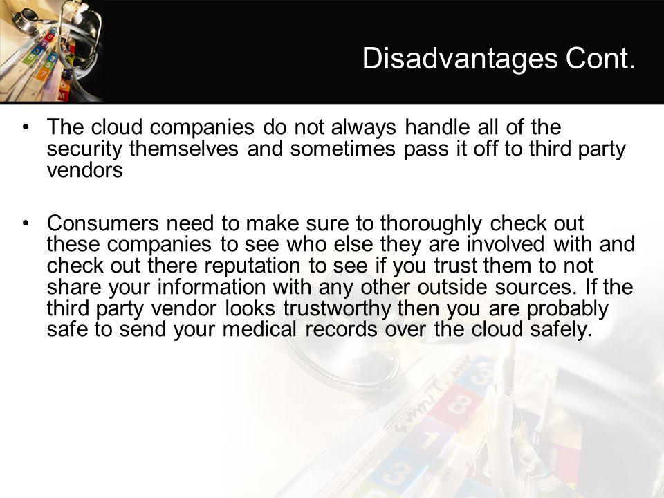 Disadvantages Cont.