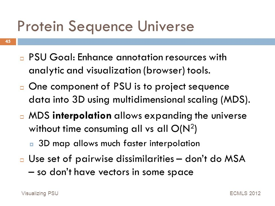Protein Sequence Universe Visualizing PSU 45  PSU Goal: Enhance annotation resources with analytic and visualization (browser) tools.