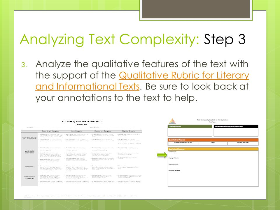 Analyzing Text Complexity: Step 3 3.