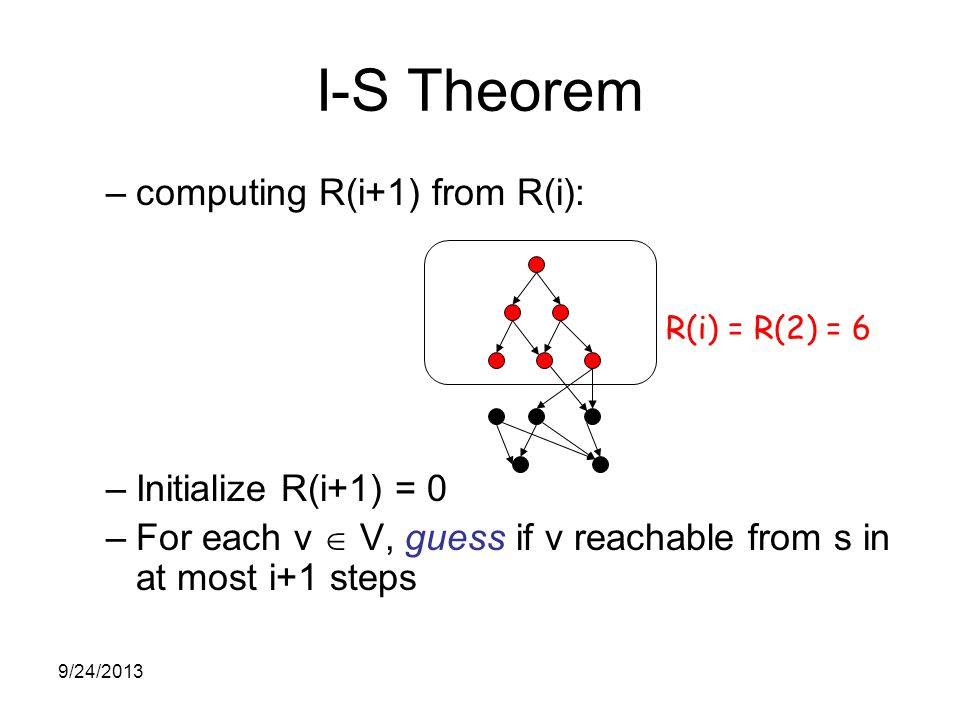 I-S Theorem –computing R(i+1) from R(i): –Initialize R(i+1) = 0 –For each v  V, guess if v reachable from s in at most i+1 steps R(i) = R(2) = 6 9/24/2013
