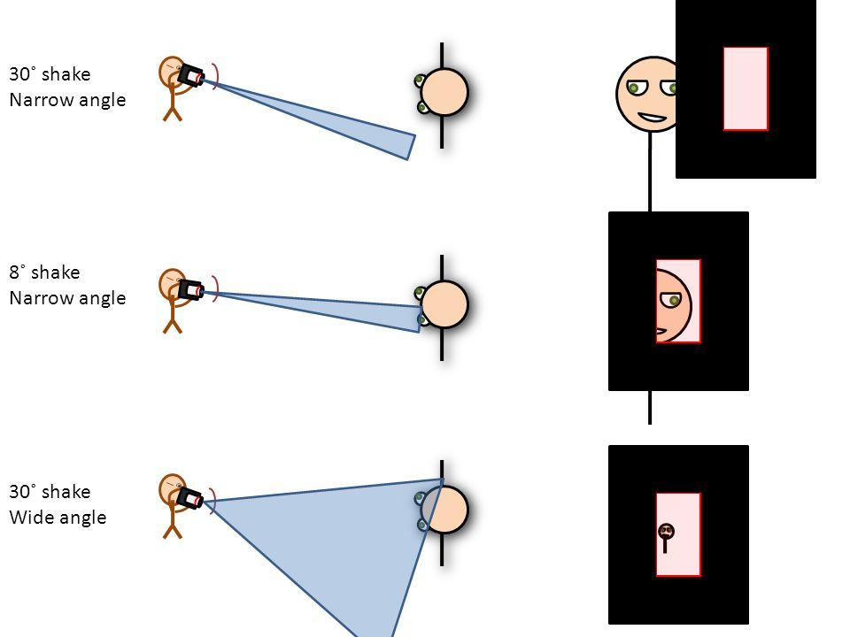 30˚ shake Narrow angle 8˚ shake Narrow angle 30˚ shake Wide angle