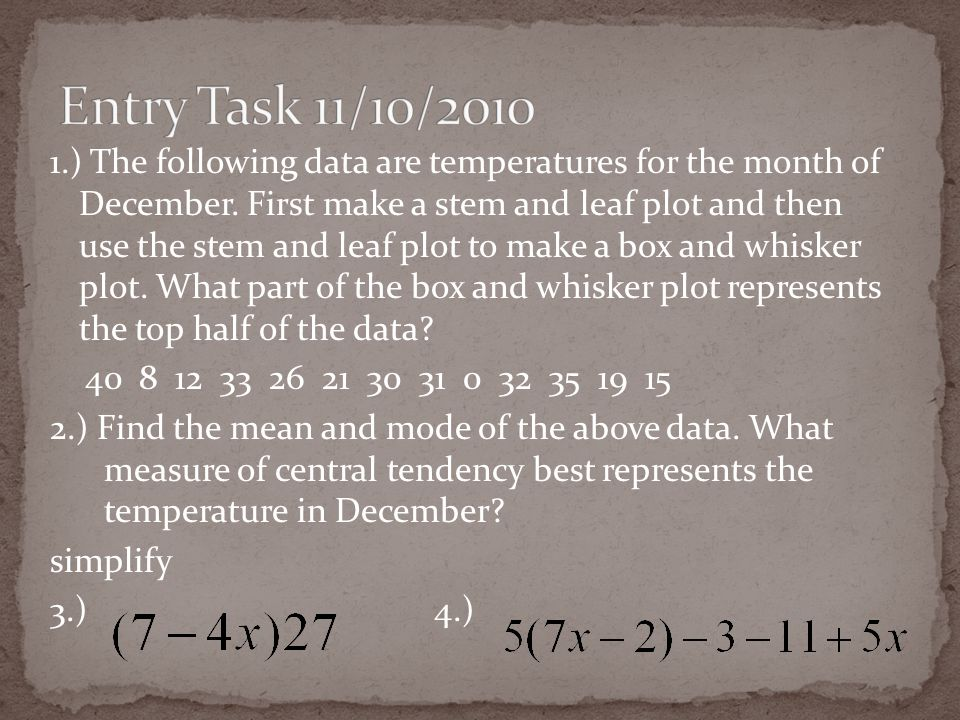1.) The following data are temperatures for the month of December.