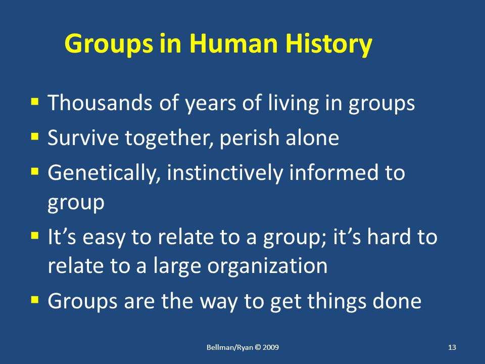 Groups in Human History  Thousands of years of living in groups  Survive together, perish alone  Genetically, instinctively informed to group  It's easy to relate to a group; it's hard to relate to a large organization  Groups are the way to get things done 13Bellman/Ryan © 2009
