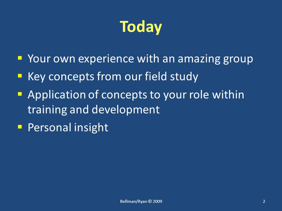Today  Your own experience with an amazing group  Key concepts from our field study  Application of concepts to your role within training and development  Personal insight 2Bellman/Ryan © 2009