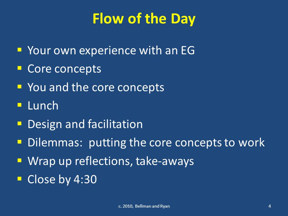 Flow of the Day  Your own experience with an EG  Core concepts  You and the core concepts  Lunch  Design and facilitation  Dilemmas: putting the core concepts to work  Wrap up reflections, take-aways  Close by 4:30 c.